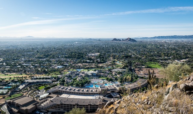 looking down at the Phoenician from Camelback Mountain