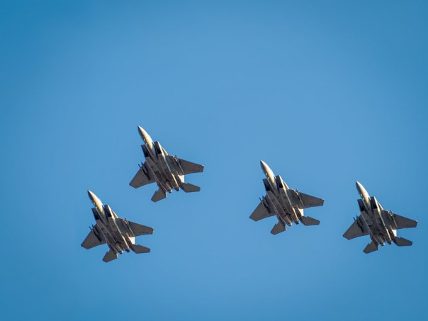 Pre-game F-15 formation flyover