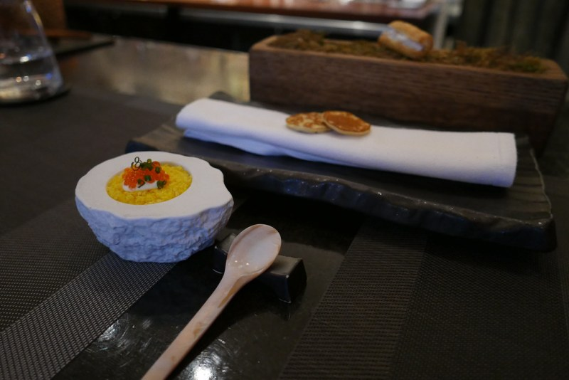 BAR TASTING MENU: Canapé | Cured yellowtail amberjack, red onion, egg yolk, creme fraiche, sea trout caviar, blini