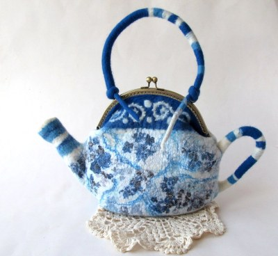 Felted teapot - Blue
