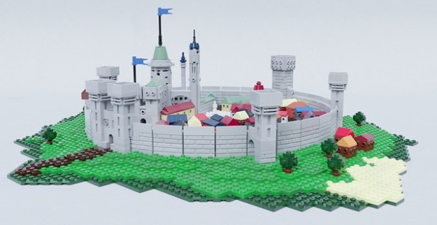 a closer look at the castle reveals some of the parts that are not currently part of legos inventory i spotted three parts in colours that dont exist yet