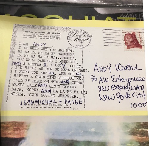 Basquiat postcard to Andy Warhol