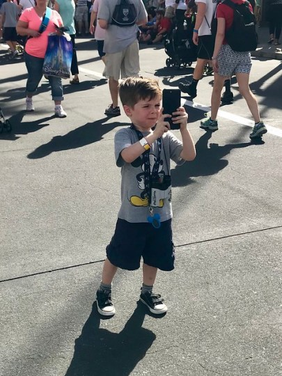 taking a picture of the tower of terror