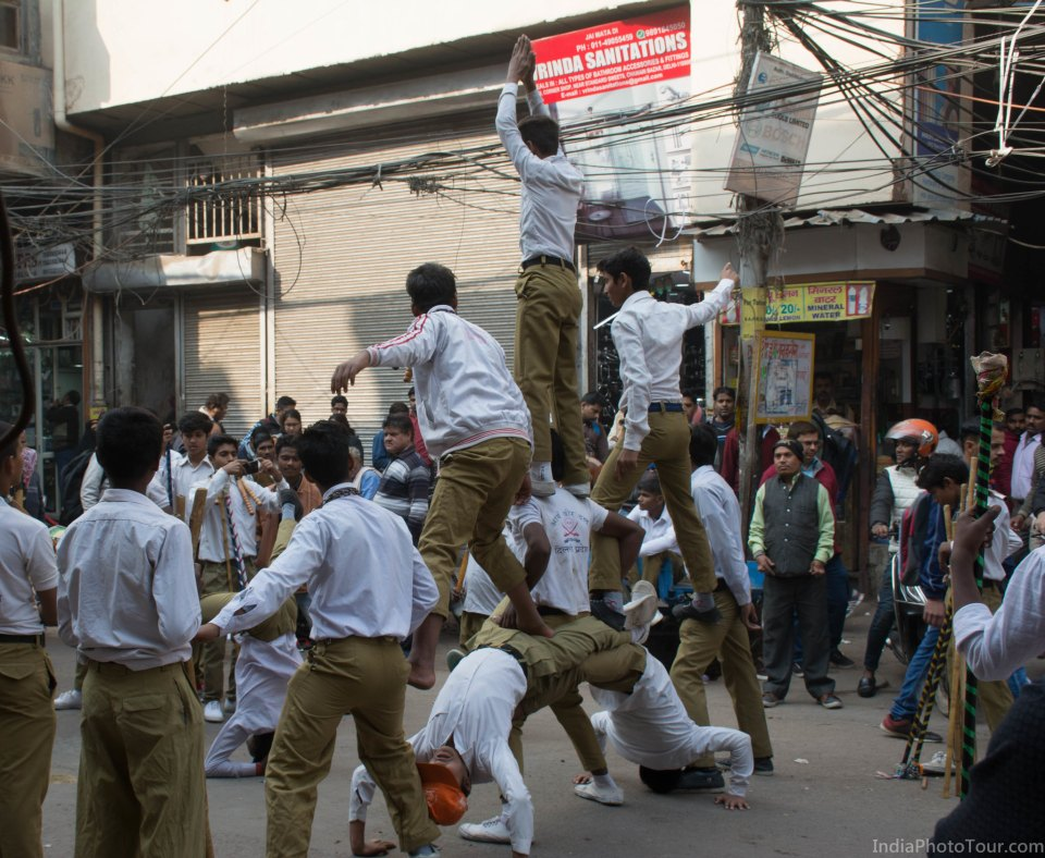 School children showing off their skills during the procession