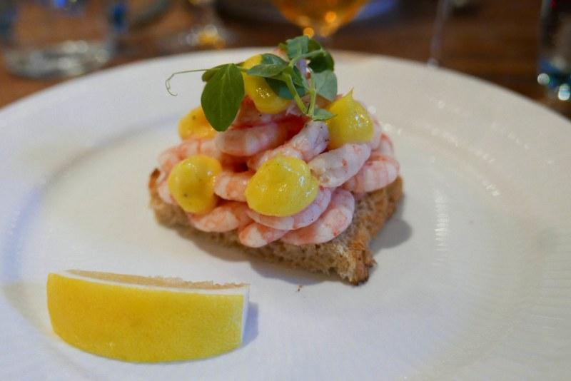 Shrimp, toast, mayonaise, lemon smørrebrød ($26)
