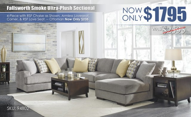 Fallsworth Smoke Ultra-Plush Sectional 94802-55-77-34-17-T027