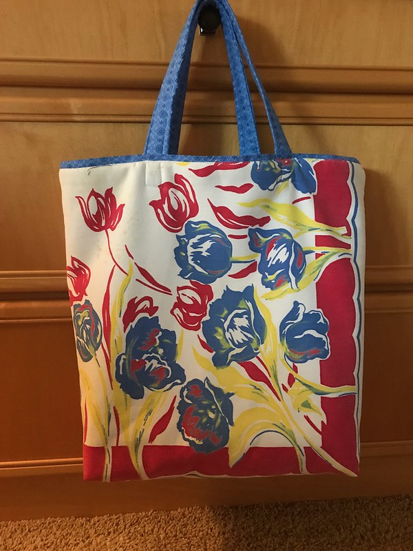 Retail shopping bag from vintage tablecloth