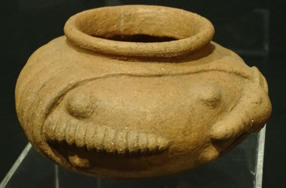 vasija forma de cangrejo ceramica Maya exposicion antiguo Colegio de la Compañia de Jesus Antigua Guatemala 01