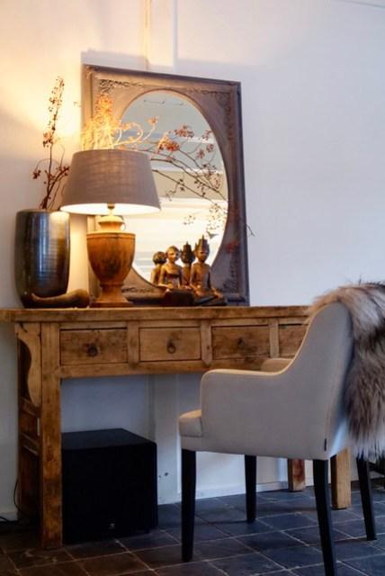 Werkplek woonkamer spiegel