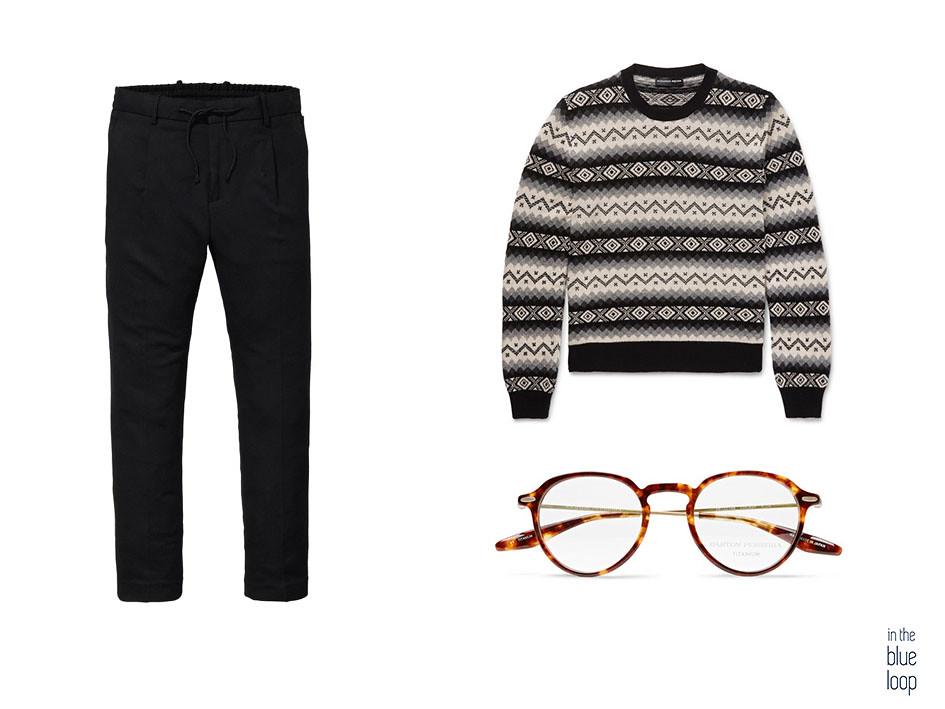 Look décontracté pour homme avec un pantalon chino et d'hiver avec des lunettes