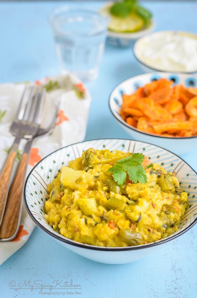 A bowl of oats vegetable porridge