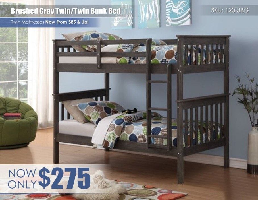 Brushed Gray Twin over Twin Bunk Bed_120-3BG