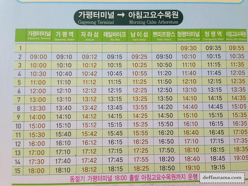 Garden of The Morning Calm - Shuttle Bus Timetable 1