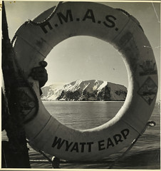 Photograph depicting a life buoy of HMAS Wyatt Earp.