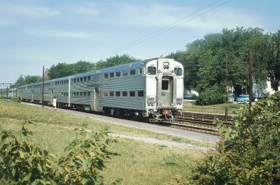 A Couple of CB&Q Trains at Westmont, IL -- 3 Photos