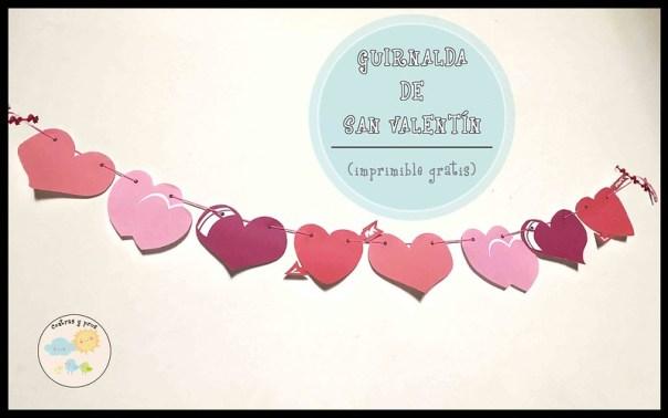 Guirnalda de San Valentín. Imprimible gratis