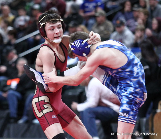 Semifinal - Joey Thompson (Maple Grove) 46-0 won by fall over Blake West (Owatonna) 46-5 (Fall 2:43). 180303AJF0005