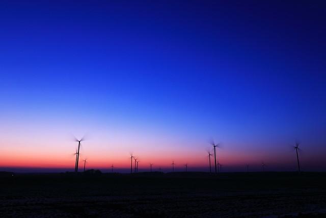 Wind park at sunset