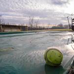 Winter morning on the baseball field