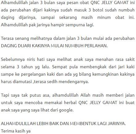 Testimoni QnC Jelly Gamat Untuk Luka - luka jari kaki