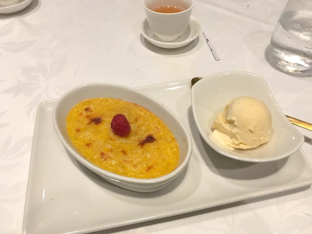 Baked sago pudding with vanilla ice cream