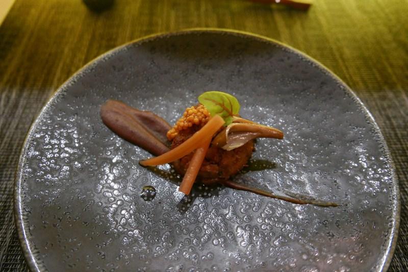 Duck Confit, Ube Purée, Maitake, Rhubarb, Pickled Mustard Seed