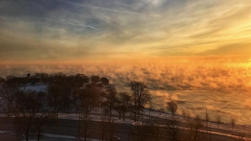 Sea smoke at Promontory Point on Lake Michigan