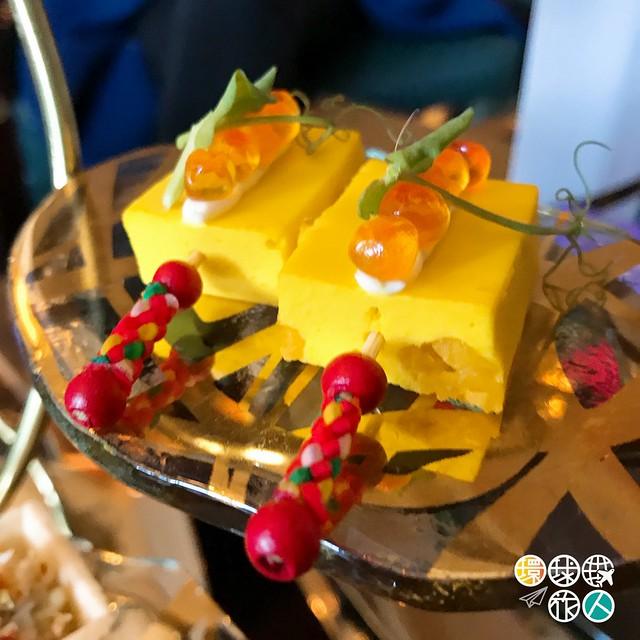 黃甜椒銀杏伴三文魚籽