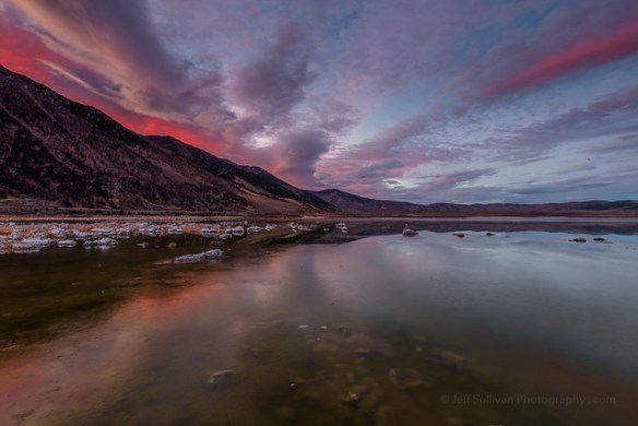 Mono Lake Icy Sunset Reflection