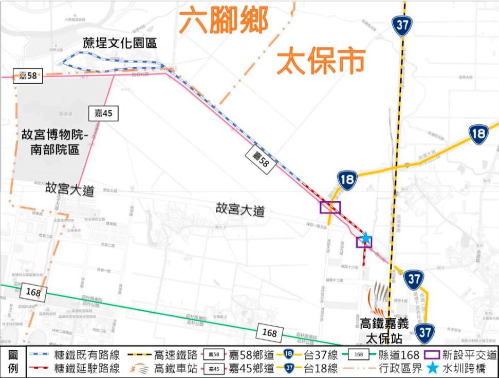 蒜頭糖廠五分車延駛計畫 計畫路線配置圖