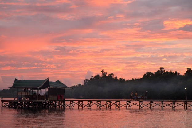 The brief equatorial sunset