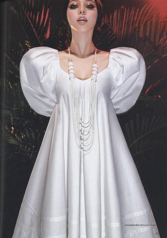 白色パフスリーブのハイウェスト・ワンピース:ファン・ピンピン ファン・ピンピン ロフィシェル 第166号 2006年7月号 チェン・マン チャン・タン