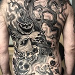 On one of my closest mates Mr. Fensome. Started this before my little girl was born. She's 12 now haha! Had a decade break then got shit done. Done at Far Beyond, Luton. Thankyou Bro! #spooky #backpiece #blackandgrey #pumpkin #horror