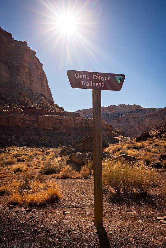 Chute Canyon Trailhead Sign