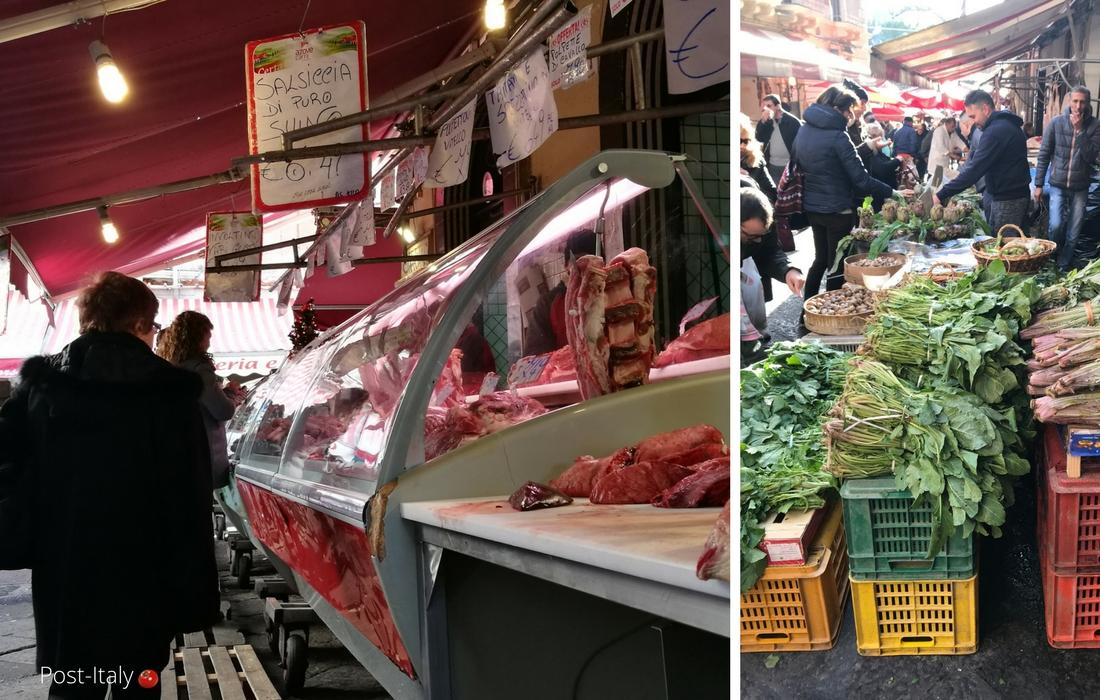 Mercado de peixes em Catânia