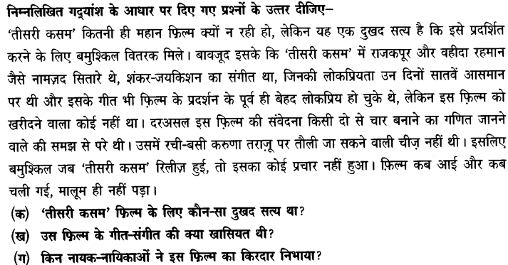 Chapter Wise Important Questions CBSE Class 10 Hindi B - तीसरी कसम के शिल्पकार शैलेंद्र 10