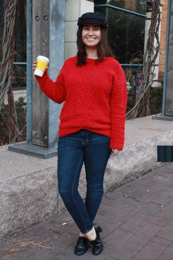 Newsboy Cap, Knit Sweater, Oxford Heels