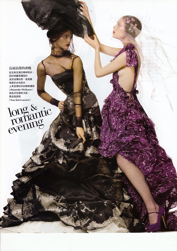 "long & romantic evening : ""Smart Moves"", Vogue Taiwan, No125, Feb, 2007. Photographed by Steven Meisel, Fashion editor Grace Coddington, Hair Julien d'Ys, Makeup Pat McGrath for Max Factor"
