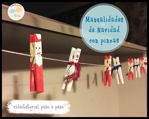 Manualidades de Navidad con pinzas para niños. Videotutorial