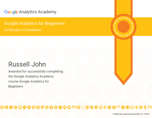 Certificate of Completion - Google Analytics for Beginners - Russell John