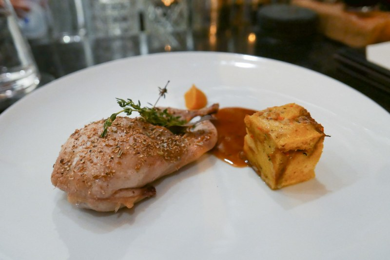 BAR TASTING MENU: Roasted Quail, Savory Bread Pudding, Butternut Squash Purée, Mustard Jus
