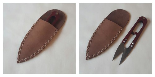brown leather snips case