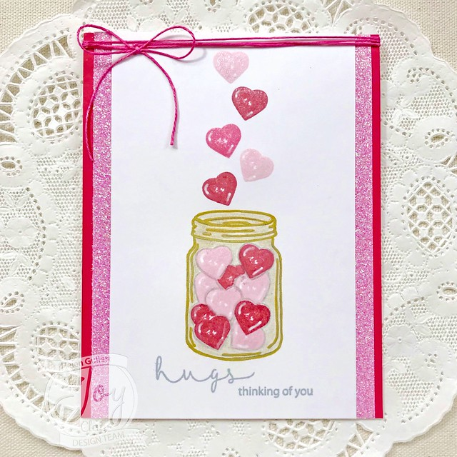Jar Of Hearts with Hugs and Smiles, Candy Hearts, and Doodle Flowers