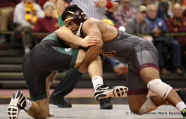 197 Bobby Steveson (Minnesota) dec. Nick May (Michigan State) 14-8. 180107AMK0107