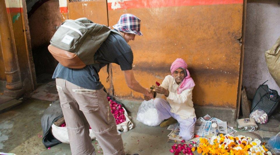 Receiving a rose in flower market