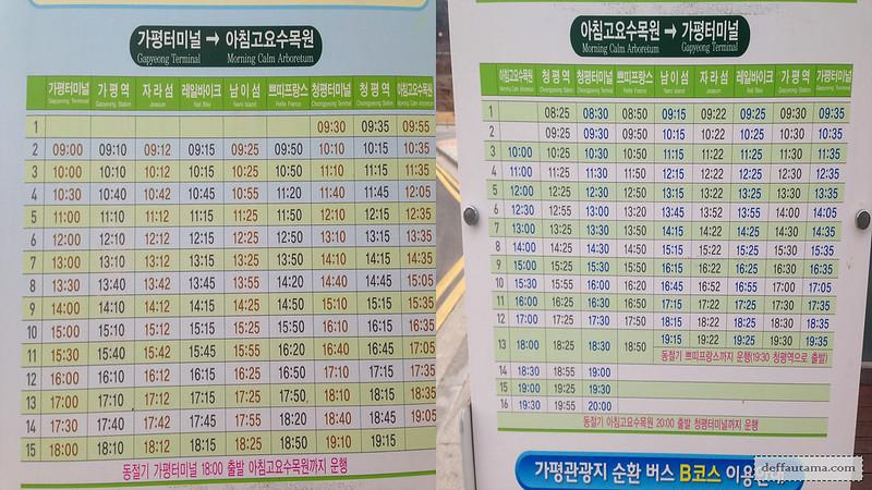 Nami Island - Gapyeong Shuttle Bus Timetable