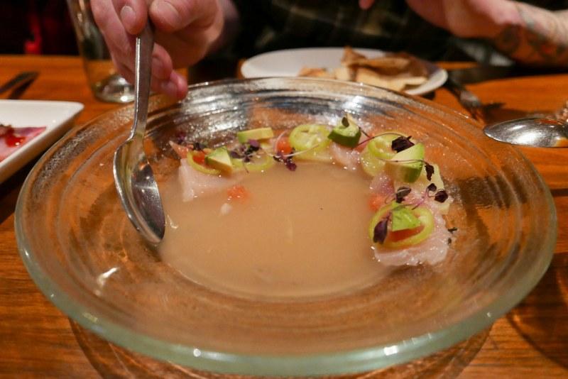 Opah Moonfish Aguachile, grapefruit broth, güero chile, wasabi-infused kohlrabi, winter citrus, avocado, cilantro ($15)
