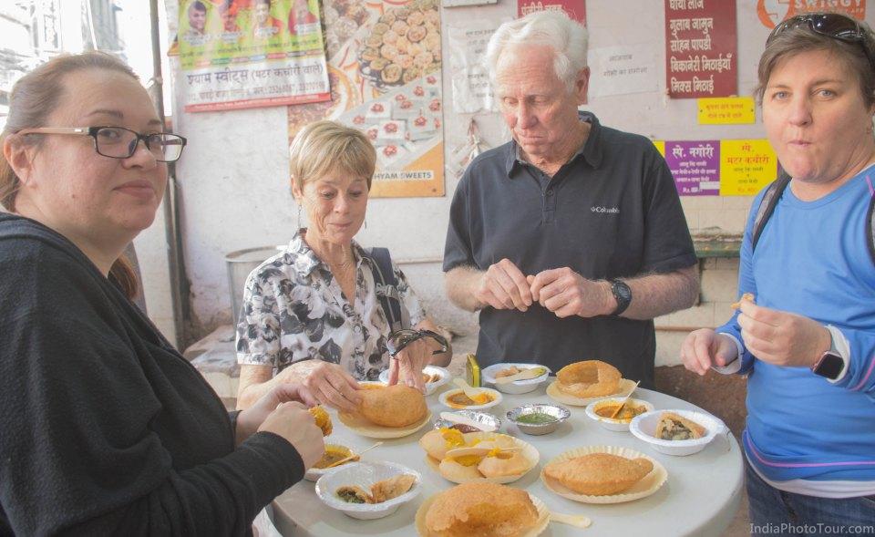 Starting food tour with breakfast of  puri, kachori, halwa, samosa etc