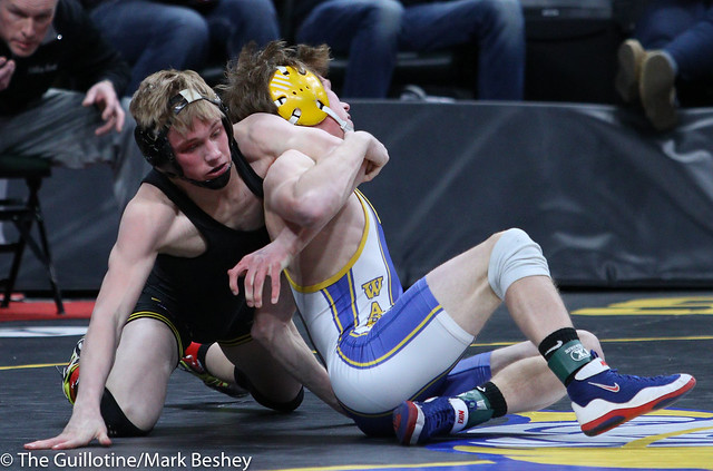 120A Semifinal - Dayne Morton (Sibley East) 44-3 won by decision over Jace Geving (Deer River) 49-3 (Dec 3-0) - 180303amk0023