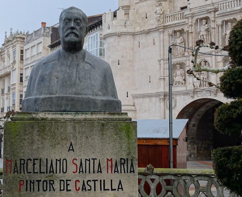 Estatua de Marceliano Santa Maria, pintor de Castilla. Puerta de Santa Maria, paseo del Espolon Burgos